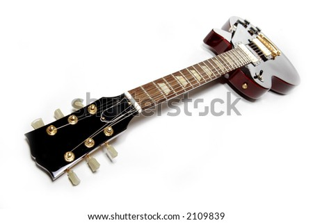 Electric guitar isolated over white. Musical instrument - stock photo