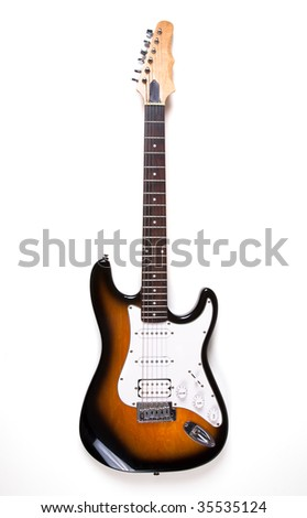 Electric guitar on white - stock photo
