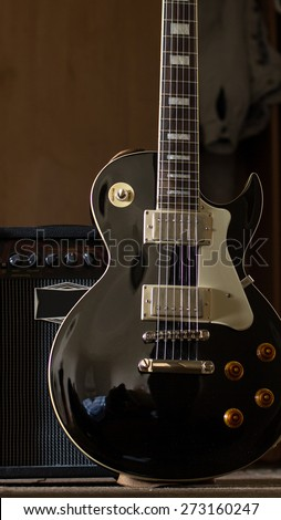 electric guitar with amplifier together blues - stock photo