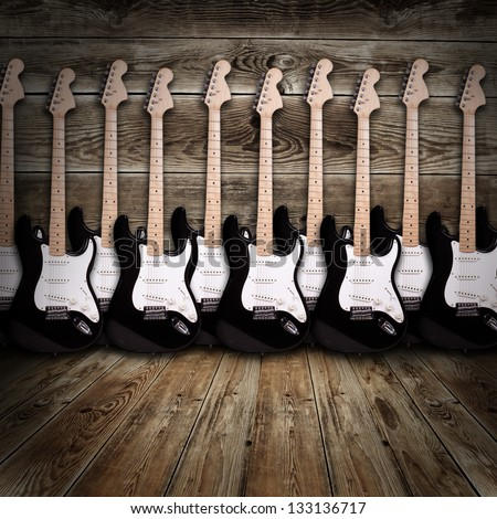electric guitars in the room - stock photo