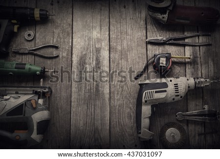 Electric hand tools (screwdriver Drill Saw jigsaw jointer) top view, photo processing: instagram - stock photo