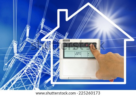 Electric heating and air conditioning concept - stock photo