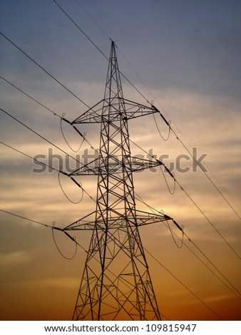 Electric High Voltage Power Line - stock photo