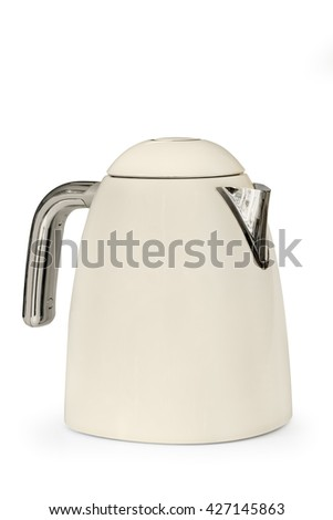Electric kettle, isolated on white.  Stylish modern beige and stainless steel. - stock photo
