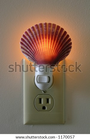 Electric Lamp with shell cover - stock photo