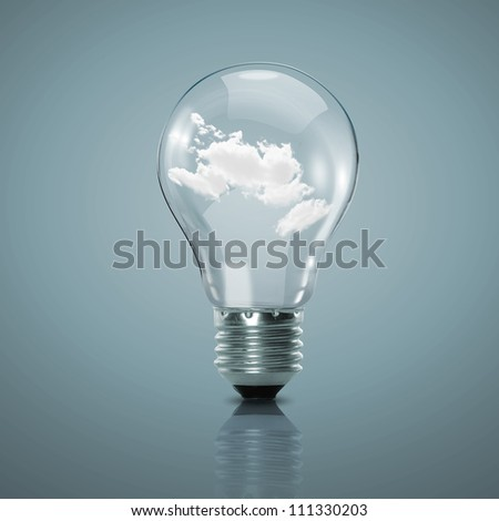 Electric light bulb and blue sky with clouds inside it - stock photo