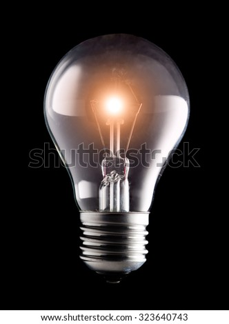 electric light bulb on a black background  - stock photo
