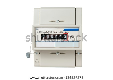 Electric meter with digital display isolated on white background - stock photo