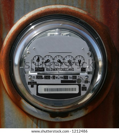 electric meter with dollar signs - stock photo