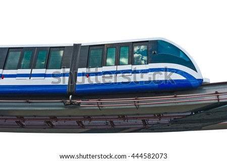 Electric monorail train modern public transport on white background, Moscow, Russia - stock photo