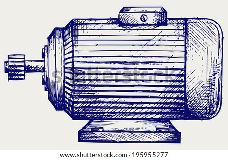 Electric motor. Doodle style. Raster version - stock photo