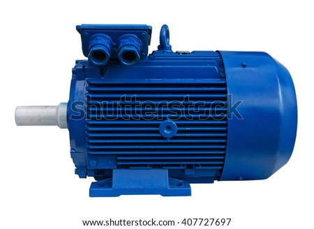Electric motor isolated. Clipping path included. - stock photo