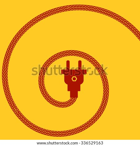 Electric Plug Concept on Orange Background. Spiral Braided Wire. - stock photo