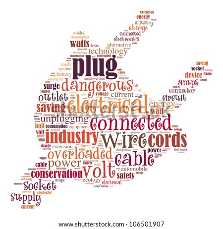Electric plug info-text graphics and arrangement concept (word cloud) on white background - stock photo