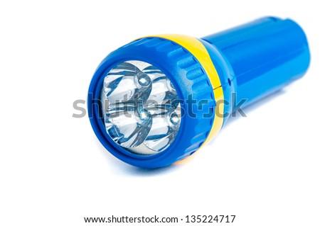 Electric Pocket Flashlight isolated on white - stock photo