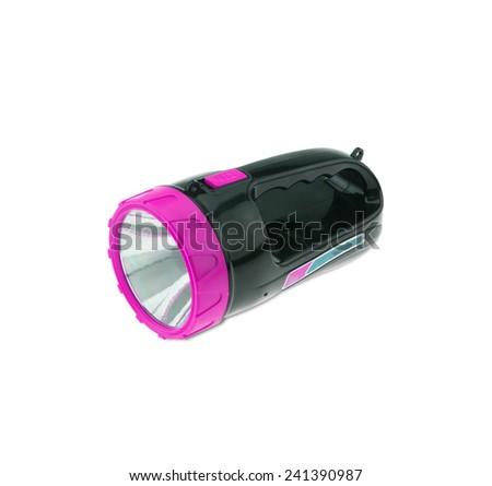 Electric Pocket Flashlight isolated on white background - stock photo