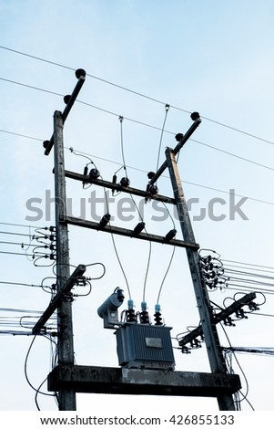 electric pole in thailand. - stock photo