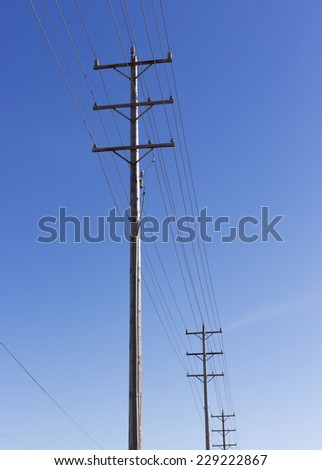 Electric poles in blue sky background - stock photo