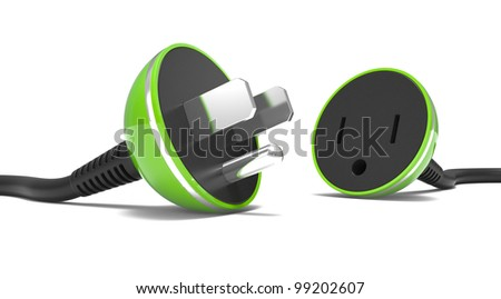 electric power cable, plug and socket unplugged on a white background - stock photo