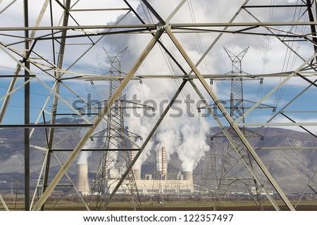 Electric power plant in Kozani Greece - stock photo