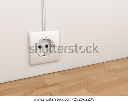Electric power socket on empty wall. 3D Illustration  - stock photo
