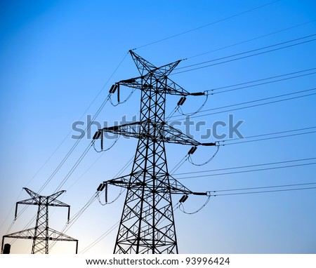 Electric power station with blue sky. - stock photo