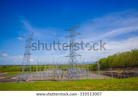Electric powerplant in panama, by the Panamerican Highway. - stock photo