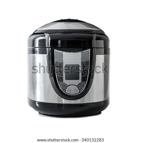 Electric pressure cooker isolated on a white background - stock photo