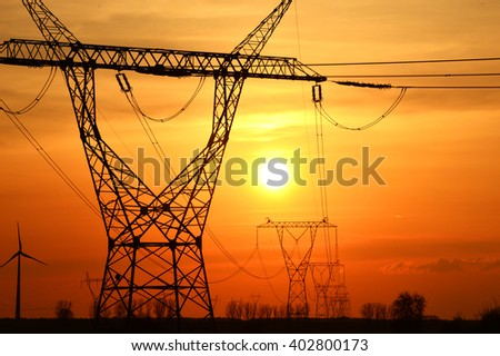 Electric pylons - stock photo