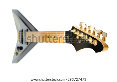 electric rock guitar Flying V on a white background - stock photo
