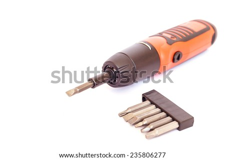 Electric screwdriver isolated on a white background. - stock photo