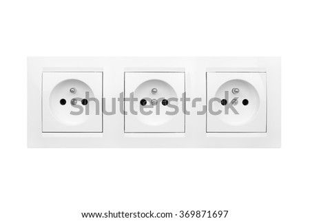 electric socket isolated on white background - stock photo