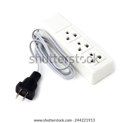 Electric socket outlet on white background. - stock photo