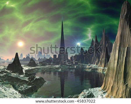 Electric Storm over Futuristic Tower City - stock photo
