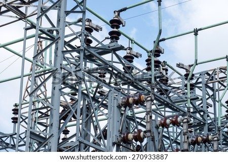 Electric substation tower for generating energy with sky background - stock photo