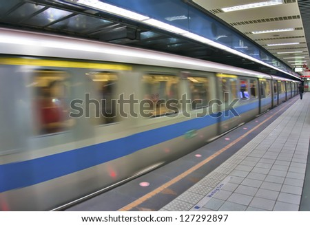Electric train in metro - stock photo