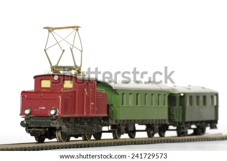 electric train toy miniature  - stock photo