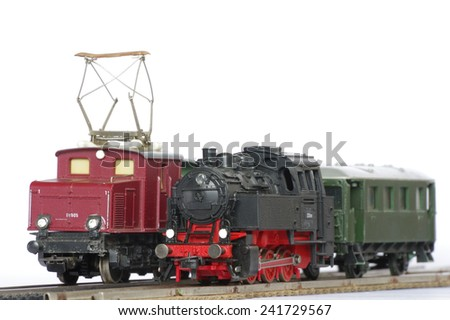 electric train toy miniature objects - stock photo