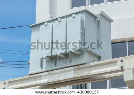 Electric Transformer, Industry power Transformer, Building Energy Transformer. - stock photo