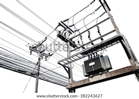 Electric transformers on electric pole, isolated on white background - stock photo