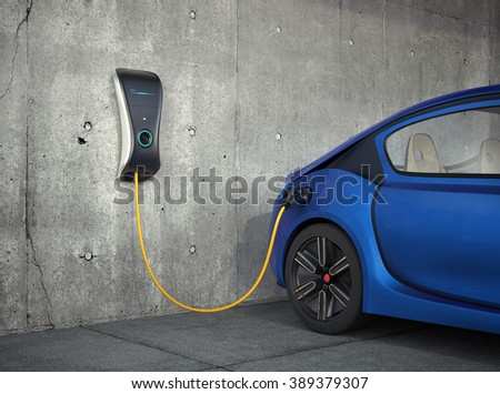 Electric vehicle charging station for home. Original design. - stock photo