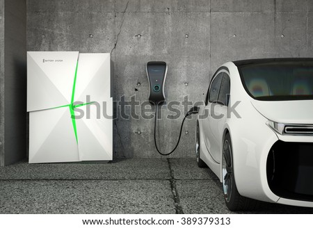 Electric vehicle charging station for home. The charge point powered by battery storage system. Original design. - stock photo