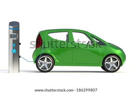 Electric Vehicle Charging Station II. Go Green- Concept - stock photo