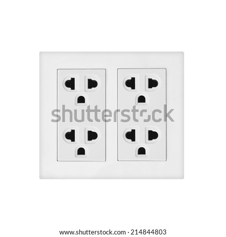 electric wall power outlet, isolated - stock photo
