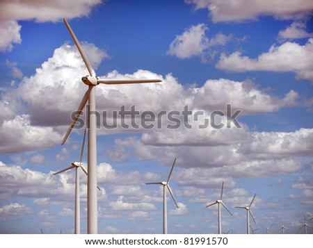 Electric Wind Turbines in Sweetwater,Texas. - stock photo