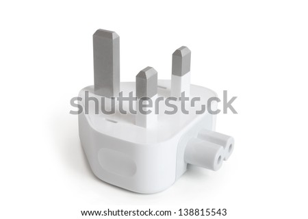 Electrical adapter on a white background - stock photo