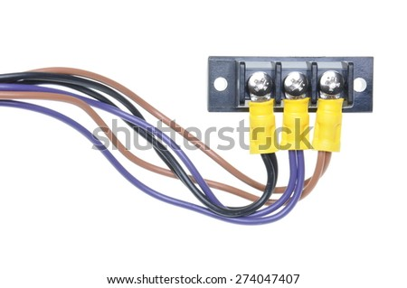 Electrical cables with terminal block isolated on white background - stock photo