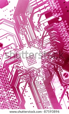 electrical circuit purple tones macro - stock photo