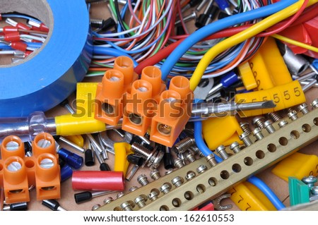 Electrical component kit for use in electrical installations - stock photo