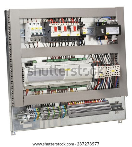 Electrical control panel. - stock photo